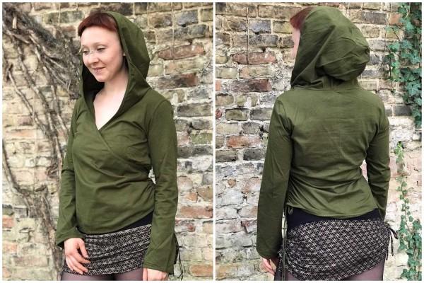 Hooded Top Crossover green Goa Gekko London Cut Out Psywear