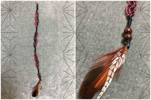 Makramee HairWrap Holzperlen Feder