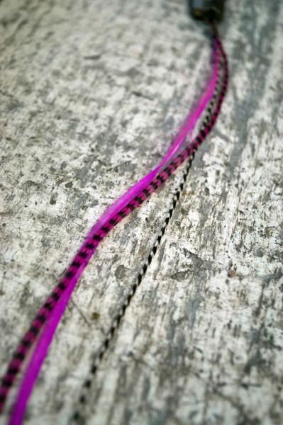 Feder Extension pink gestreift